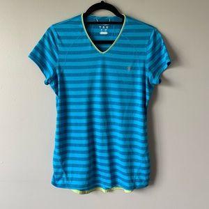Champion blue striped V neck active top